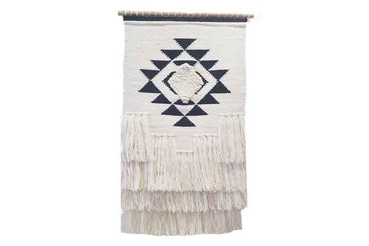Artisan Decor Handwoven Woolen Wall Hanging - AD007 - Ivory/Black - 50x90cm