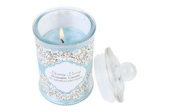 1pce Luxury Living Glass Blue Candle Bottle 5.8cm x 10cm Scented Ocean