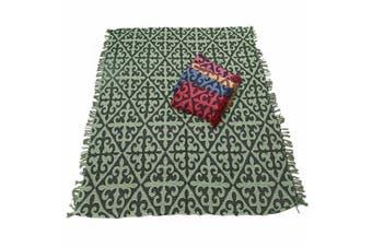 1pce Green Chevron Design Throw Rug / Table Cloth / Picnic / Camping Blanket 180x200cm