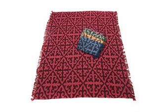 1pce Red Chevron Design Throw Rug / Table Cloth / Picnic / Camping Blanket 180x200cm