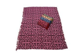 1pce Purple Chevron Design Throw Rug / Table Cloth / Picnic / Camping Blanket 180x200cm