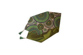 1pce 220x32cm Green Designer Vintage Style Table Runner / Bed End Throw Embroided