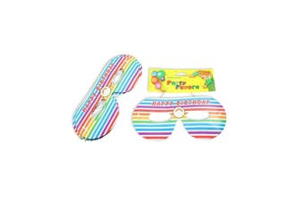 12pce Rainbow Party Mask 16cm for Birthday Parties