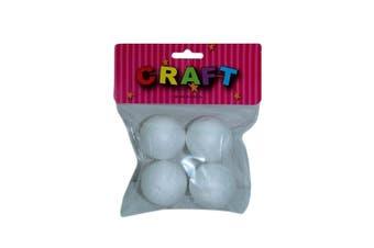 4pce Foam Polystyrene Balls / Sphere 3.5cm Diameter for Craft, Christmas