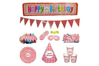 74pce Red Polka Dot Colour Party Set Birthday Kids Event Bundle Pack Bulk