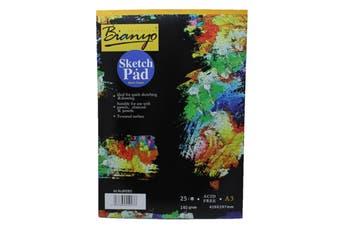 A3 Black Paper Sketch Pad 140GSM 25 Sheet Sketching & Drawing Acid Free