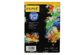 A5 Black Paper Sketch Pad 140GSM 25 Sheet Sketching & Drawing Acid Free