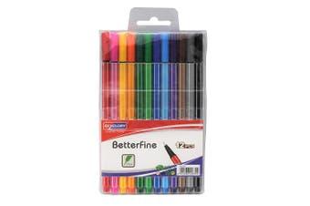 SkyGlory Fine Liner Pen 12pcs Colour Set 0.4mm Metal Clad Tip, Triangular Barrel