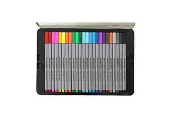 24 Colour Fine Liner Marker Pen Drawing Set in Metal Tin Premium Excellent Range