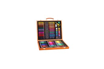 Elegant 150pce Kids Art and Craft Mixed Media Kit in Wooden Case Crayons, Markers, Watercolour MORE