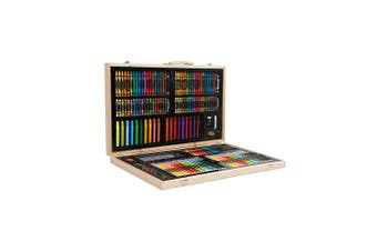 Essential 188pce Kids Art and Craft Mixed Media Kit in Wooden Case Crayons, Markers, Watercolour MORE