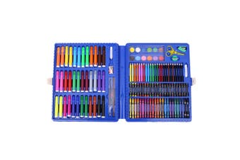Blue 151pce Kids Art and Craft Mixed Media Kit in Case Crayons, Markers, Watercolour & MORE!