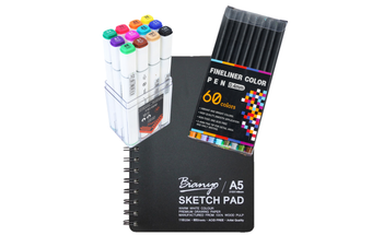 Value Deal 60 Piece Fineliner Pens, Alcohol Markers and Sketch Pad Gift Bundle