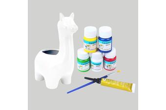 8pce 19cm Llama Ceramic Painting Pot Art Set with Brush Kit Bundle Value DIY Project