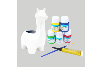 8pce 26cm Llama Ceramic Painting Pot Art Set with Brush Kit Bundle Value DIY Project