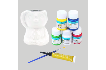 8pce 9.5cm Sloth Ceramic Painting Pot Art Set with Brush Kit Bundle Value DIY Project