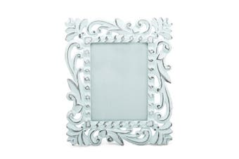 """30cm x 25cm White Hand Carved Photo Frame, Indonesian Style, for 6x8"""" Prints White Wash"""