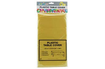 YELLOW - Plastic Table Cloth. 1.4 x 2.7m. Great for Parties and Birthdays.