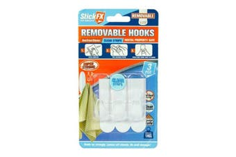 New 3pce Self Adhesive Hooks 1kg Removable Clear Suitable For Photos/Frames