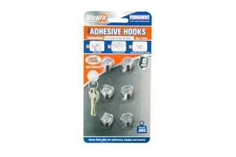 New 6pce Mini Round Metal Adhesive Hooks 500g Suitable For Photos/Frames/Hardware