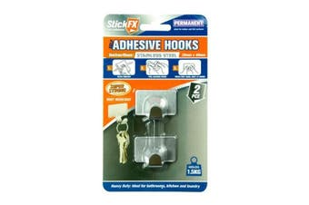 New 2pce Metal Adhesive Hook Set 1kg Suitable For Photos/Frames/Hardware/Keys