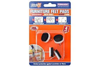 4pce Nail-In Felt Cushions - 4 x 24mm [Colour: Black]
