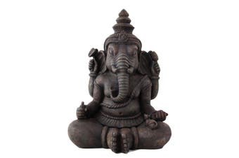 40cm Garden Ganesh Sitting Statue with Rat Worshipper, Made of Resin