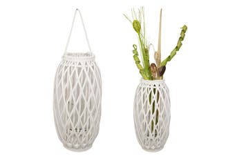 1pce 51cm White Wicker Plant or Candle Holder Standing/Hanging Home Decor