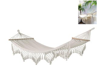 New 2m x 1m White Hammock with End to End Wooden Rods and Macrame Fringe Weight Rating 100kg