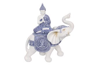 LAST ONE 1pce 49cm Blue Willow Buddha Praying on Elephant Trunk Up Statue Ornament