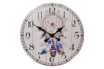 NEW 1pce 58cm Clock Dream Catcher Boho Theme Natural Colours