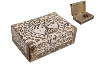 New 1pce 18cm Tree of Life Boho Carven Jewelry / Trinket Box Carved