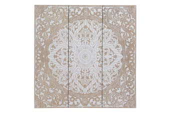 New 1pce 40X40CM MDF Mandala Plaque in Boho Theme with White Mandala Print Hanging