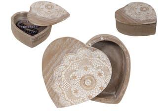New 1pce 15X15CM Mandala Heart Box in an Oak Wash Finish Boho Style
