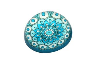 LAST ONE 1pce 8cm Mandala Glass Paperweight Boho Colourful Design Heavy! [Blue]
