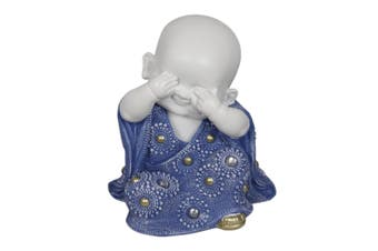 16cm See No Evil Wise Buddha / Monk with Blue Dress [See No Evil - Middle]