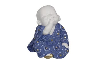 16cm Speak No Evil Wise Buddha / Monk with Blue Dress [Speak No Evil - Right]
