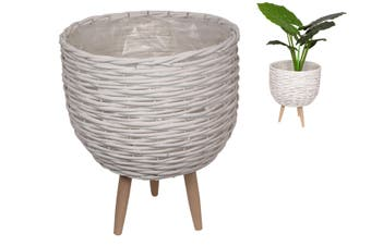 NEW 1PCE 40CM White Wicker Pot Plant Holder with Legs