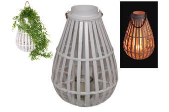 1pce 50cm White Bamboo Deco Lantern Planter Candle Holder Hanging Boho
