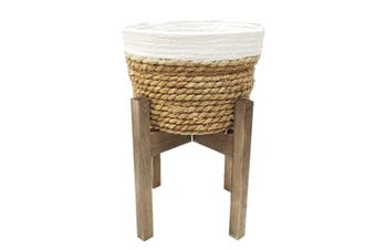 New 1pce 35cm Sea Grass Planter on Wooden Stand Natural Colours