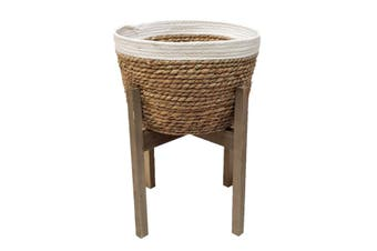 New 1pce 45cm Sea Grass Planter on Wooden Stand Natural Colours