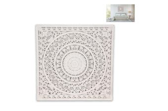 New 1pce 79cm Square Mandala Lattice Wall Art Carved Boho White