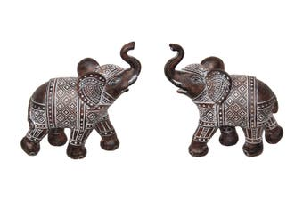New 1pce 14cm Brown Standing Elephant with Syncopated Finish Trunk Up