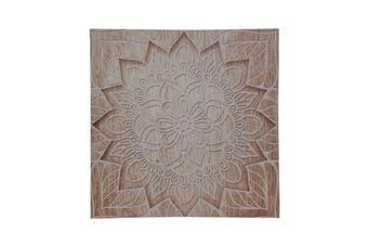 1pce Star 40cm Square Mandala Canvas Print Natural Boho Colours Wall Art