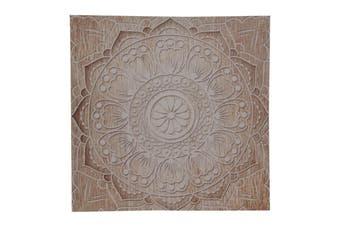 1pce Flower 40cm Square Mandala Canvas Print Natural Boho Colours Wall Art
