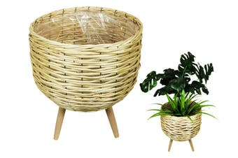 NEW 1pce 40cm Natural Wicker Pot Plant Holder with Legs