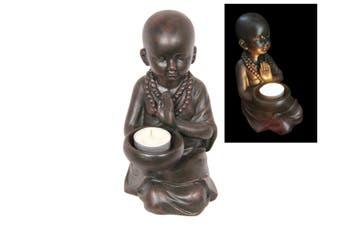 New 1pce 19cm Kneeling Monk with Begging Bowl Tealight Holder