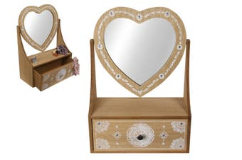 New 1pce 28cm Boho Heart Mirror Dresser with Draw Mandala Print Jewellery Box