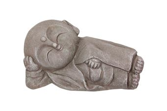 New 1pce 34cm Japanese Jizo Lyning Garden Buddha Resin In Grey tones