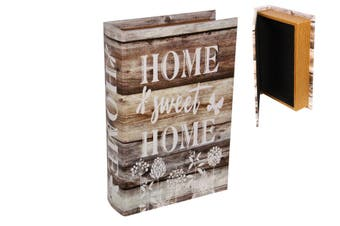 New 1pce 25cm Home Sweet Home Book Box Brown with Flowers Rustic Look